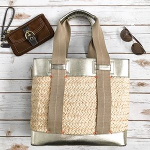 TRINA TURK Woven Basket Metallic Leather Tote Bag